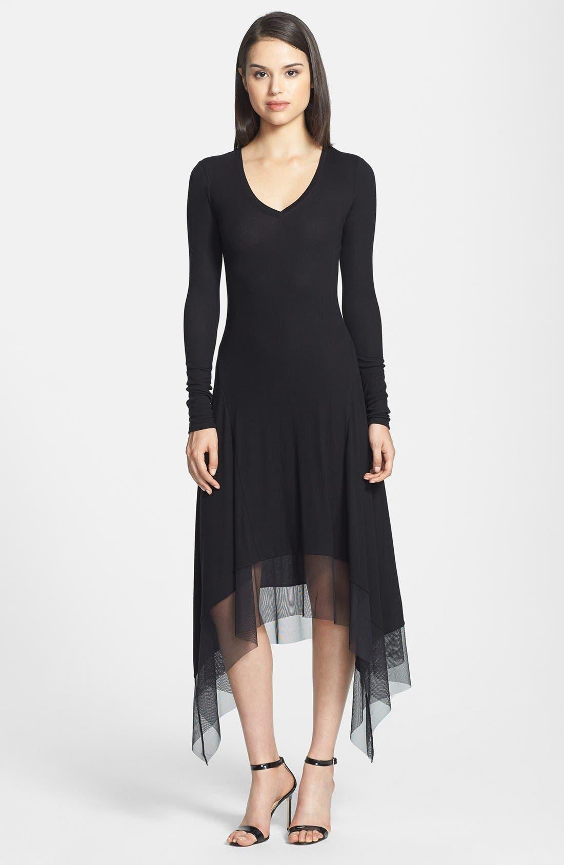 Main Image - BCBGMAXARIA Tulle Hem Jersey Midi Dress