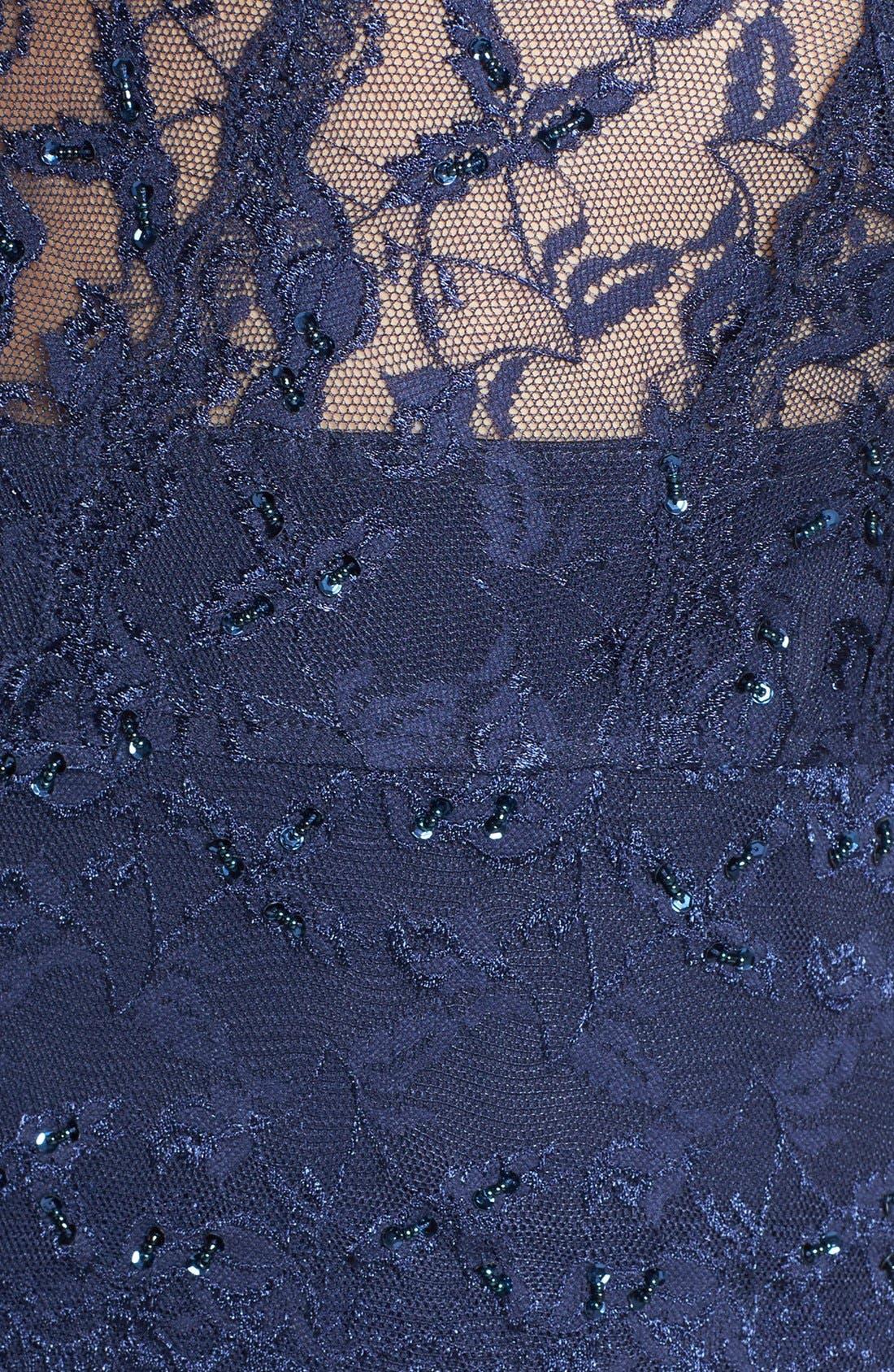 Alternate Image 3  - Marina Embellished Three Quarter Sleeve Lace Dress (Plus Size)