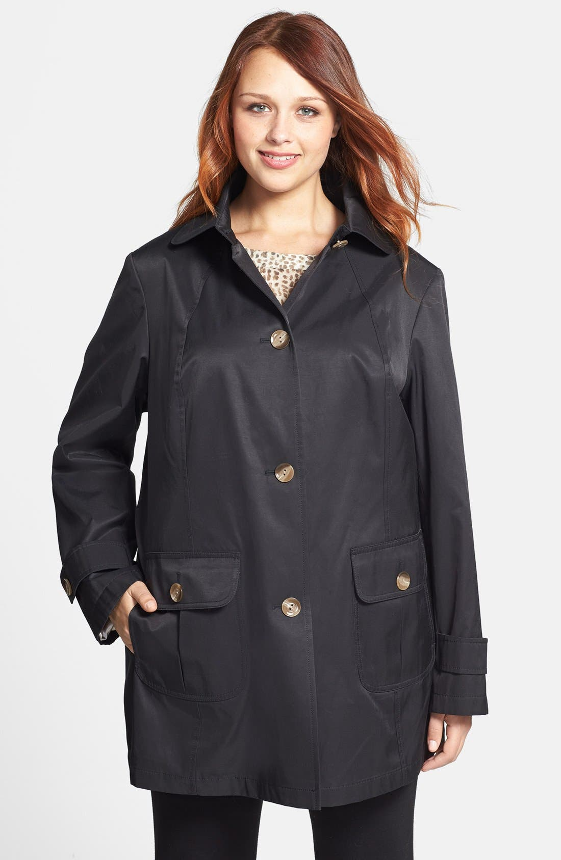 Alternate Image 1 Selected - Gallery A-Line Stadium Coat (Plus Size)