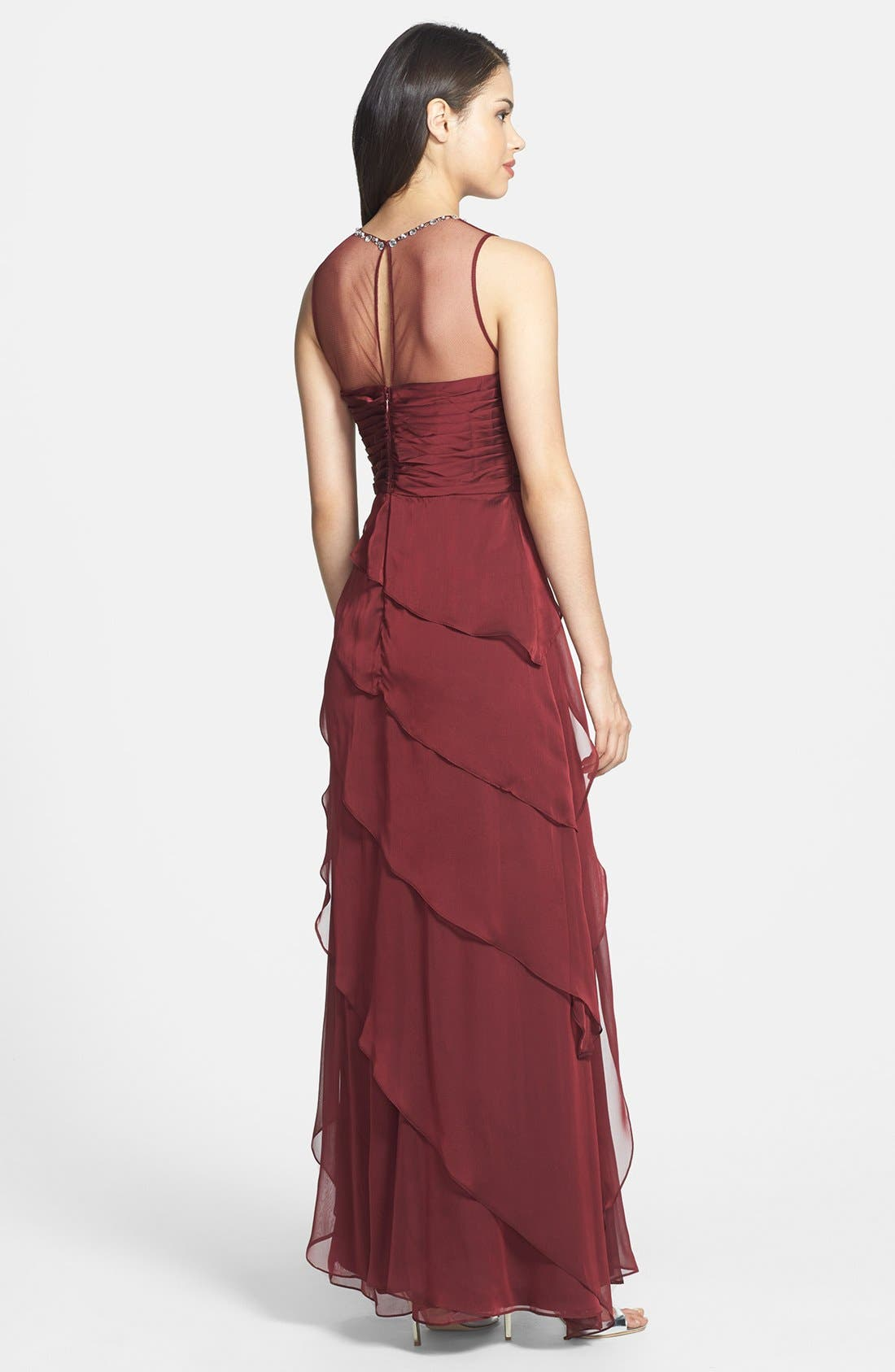 Alternate Image 2  - Adrianna Papell Embellished Twist Front Mesh Gown