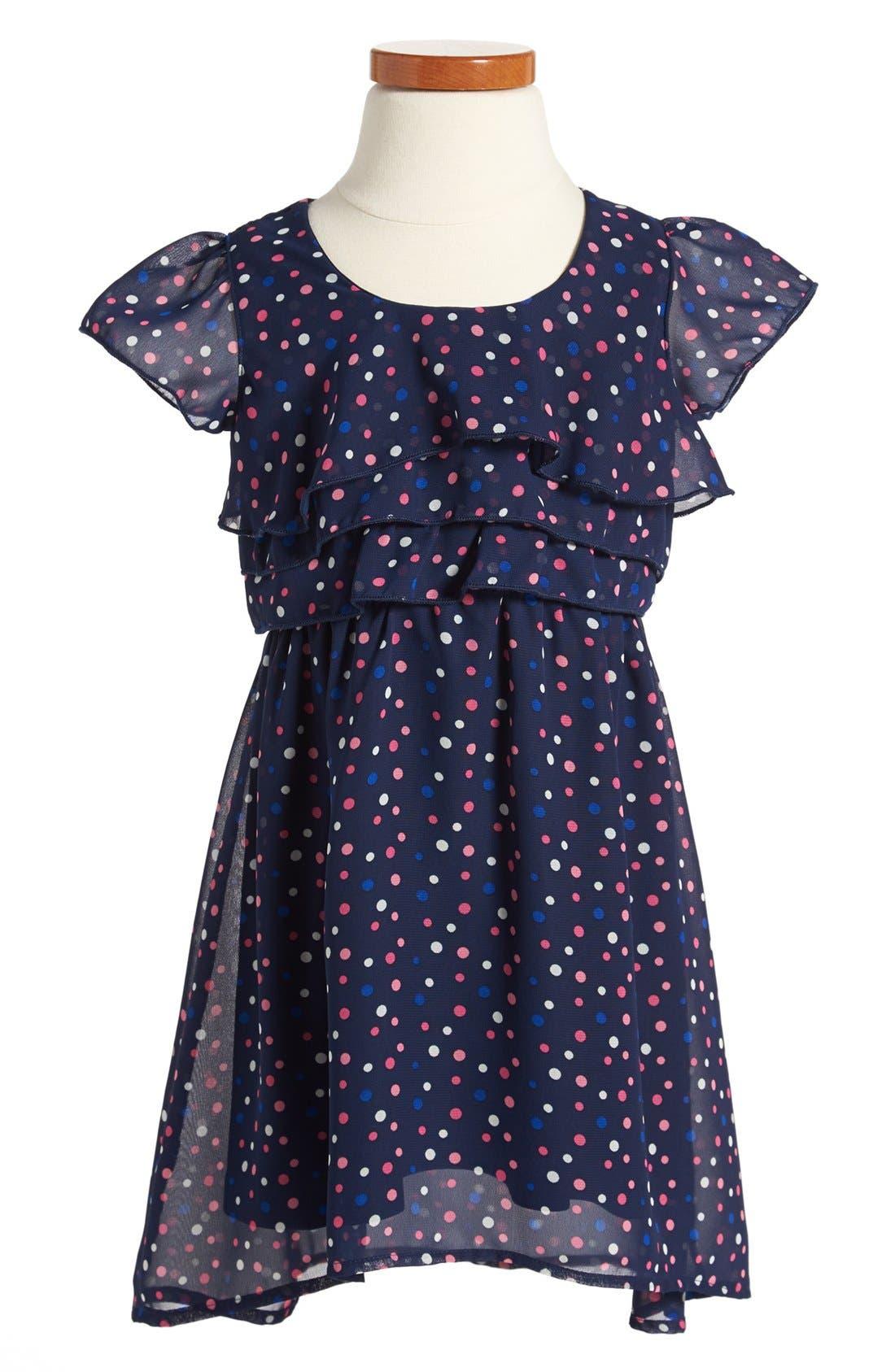 Main Image - Weavers Polka Dot Chiffon Dress (Toddler Girls)