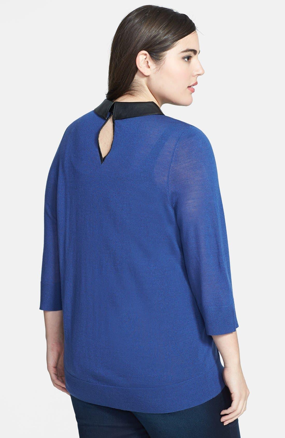 Alternate Image 2  - Sejour Faux Leather Collar Sweater (Plus Size)