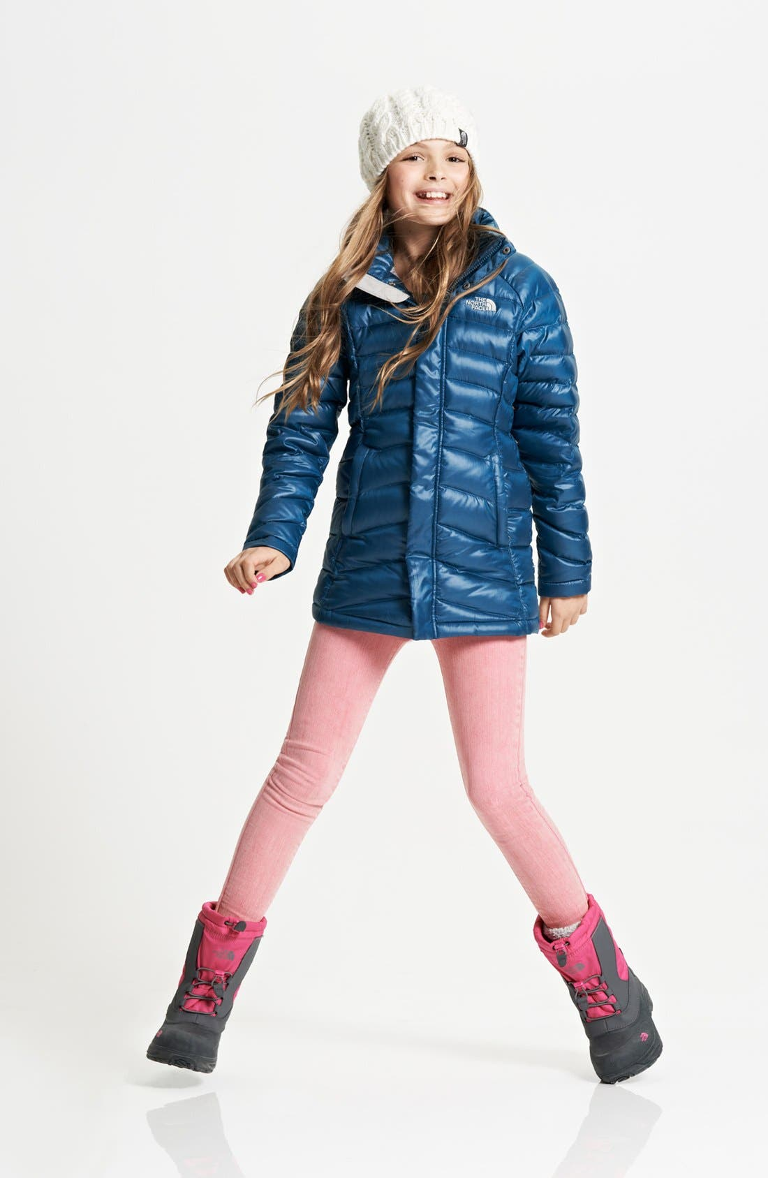 Alternate Image 1 Selected - The North Face Down Jacket, Beanie & Joe's Jeggings (Big Girls)
