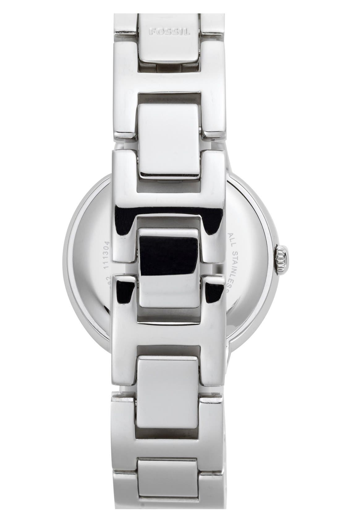 Alternate Image 2  - Fossil 'Virginia' Crystal Accent Bracelet Watch, 30mm