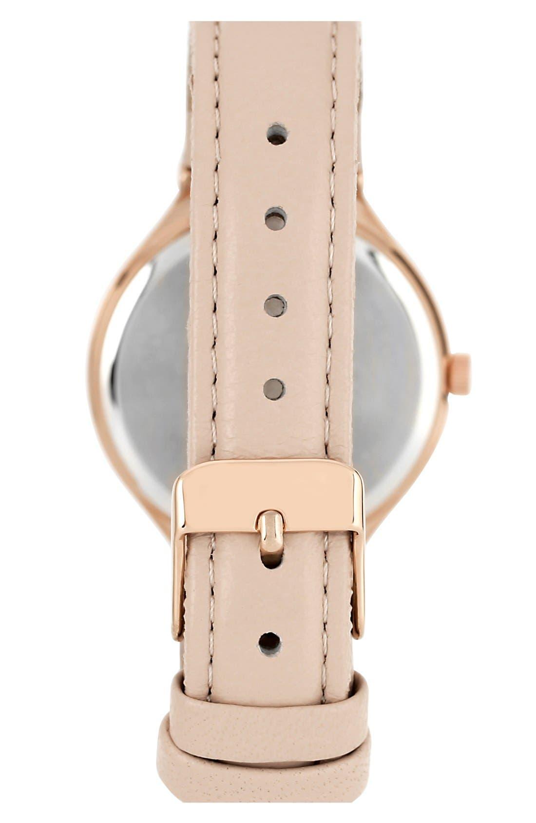 Alternate Image 2  - Anne Klein Round Leather Strap Watch, 34mm