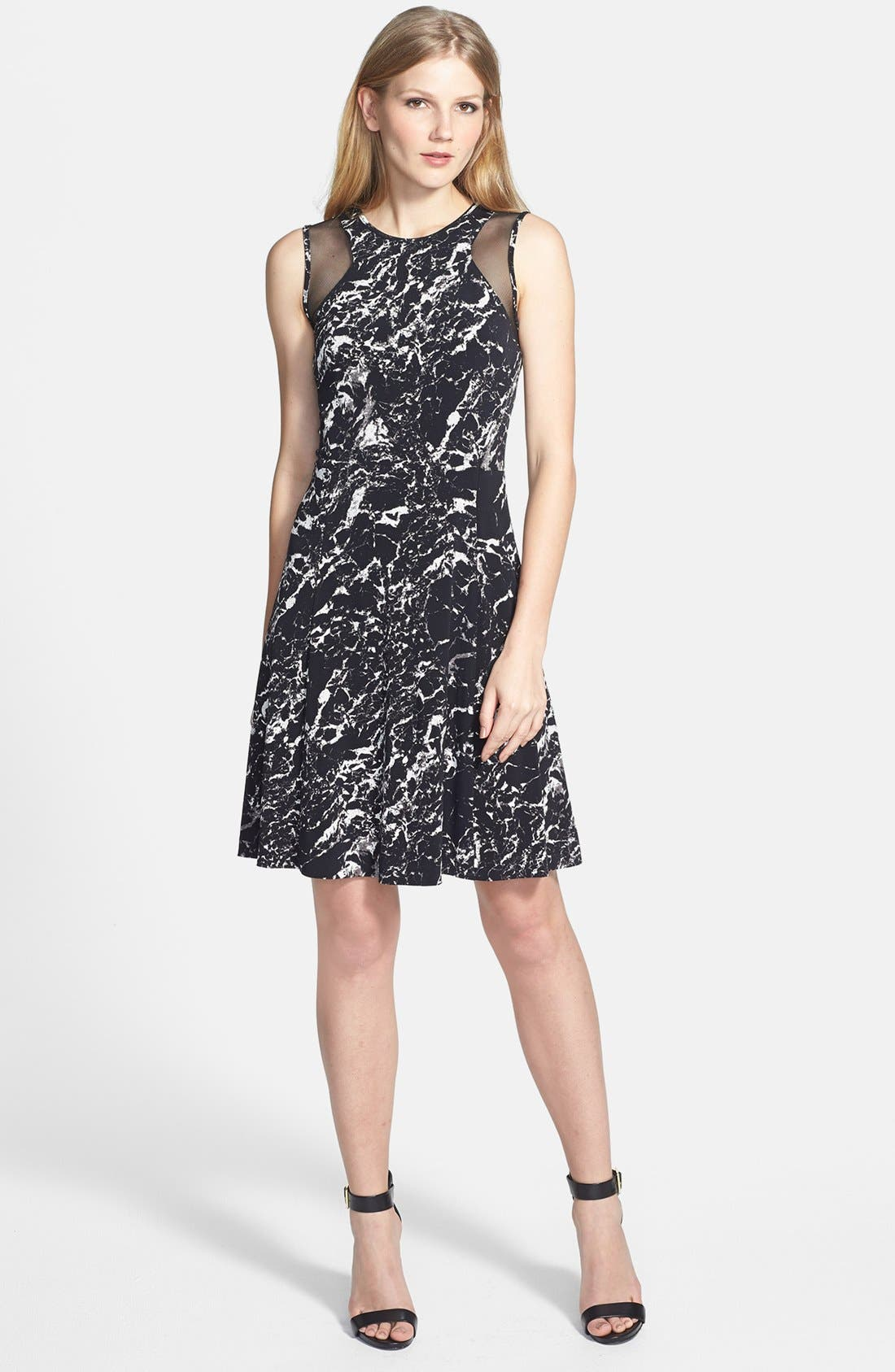 Main Image - Vince Camuto Sheer Inset Marble Print Ponte Dress
