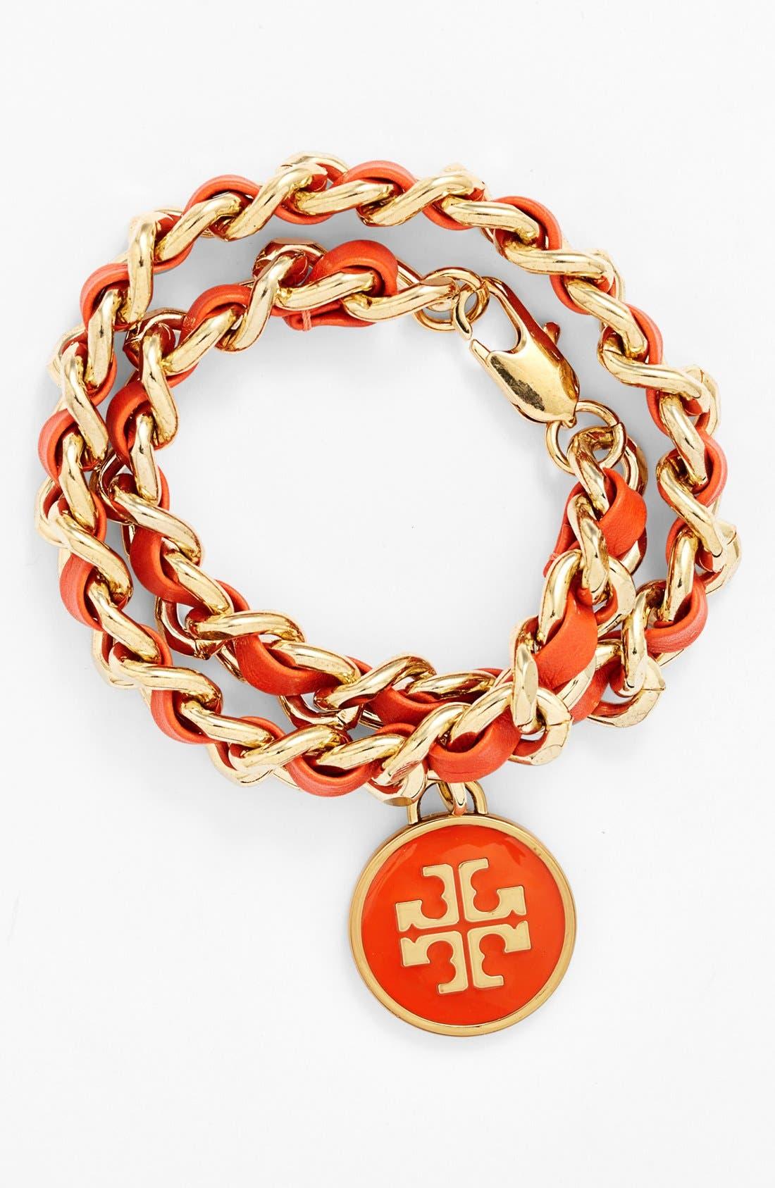 Main Image - Tory Burch Link & Leather Wrap Bracelet