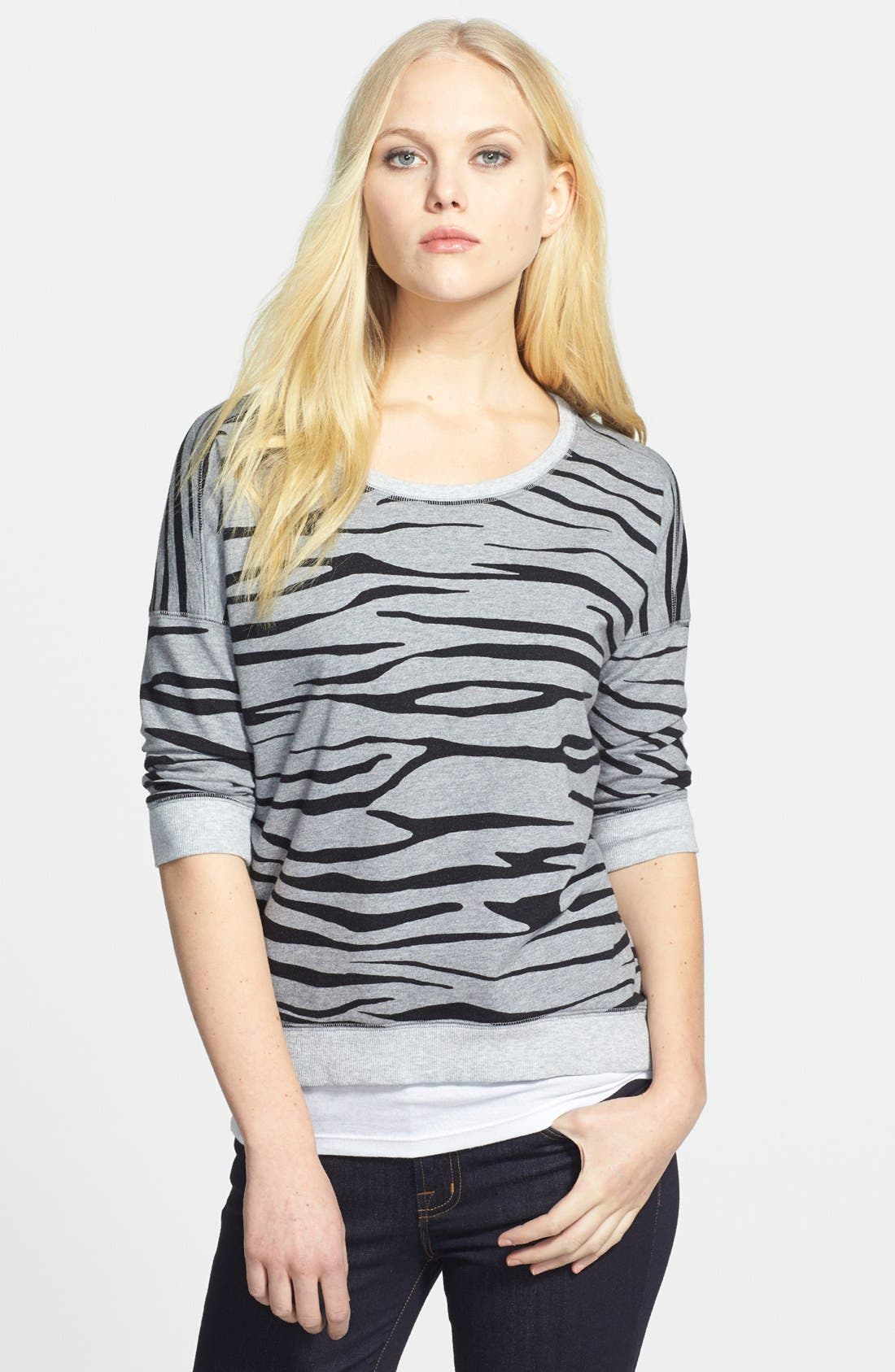 Alternate Image 1 Selected - Two by Vince Camuto Zebra Print Sweatshirt