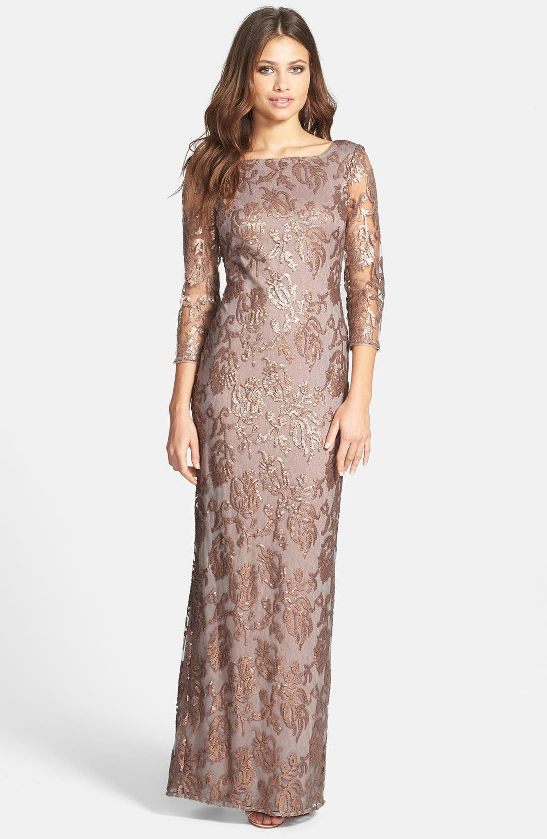 Alternate Image 1 Selected - Adrianna Papell Sequin Embroidered Lace Column Gown