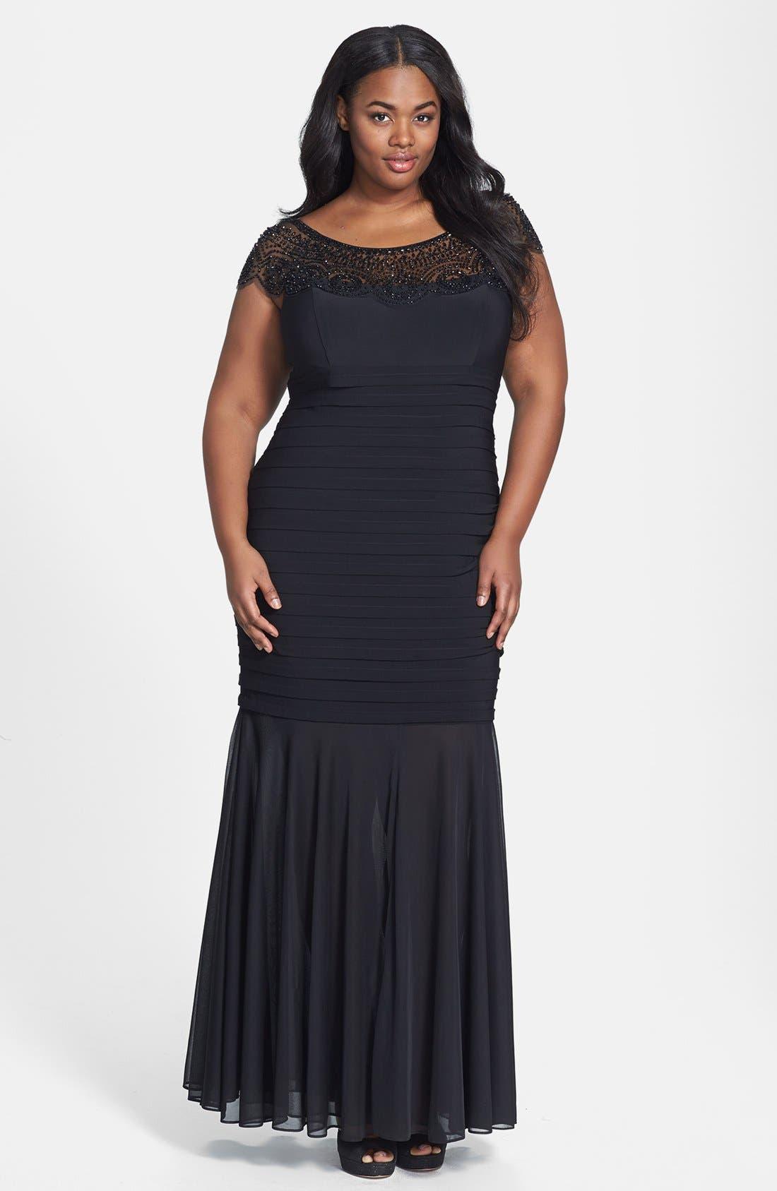 Alternate Image 1 Selected - Xscape Beaded Yoke Chiffon Gown (Plus Size)