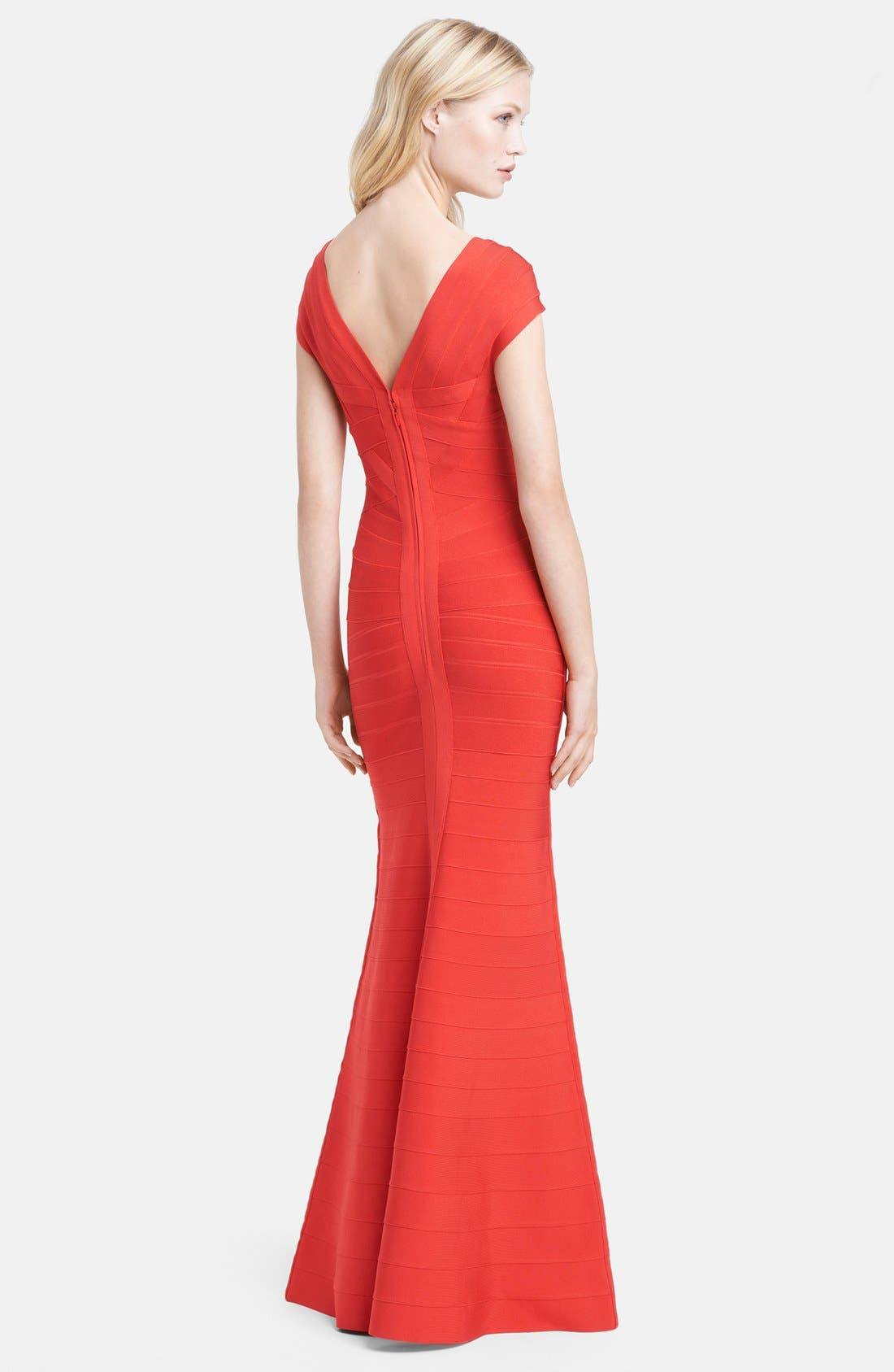 Alternate Image 2  - Herve Leger Cap Sleeve Bandage Gown