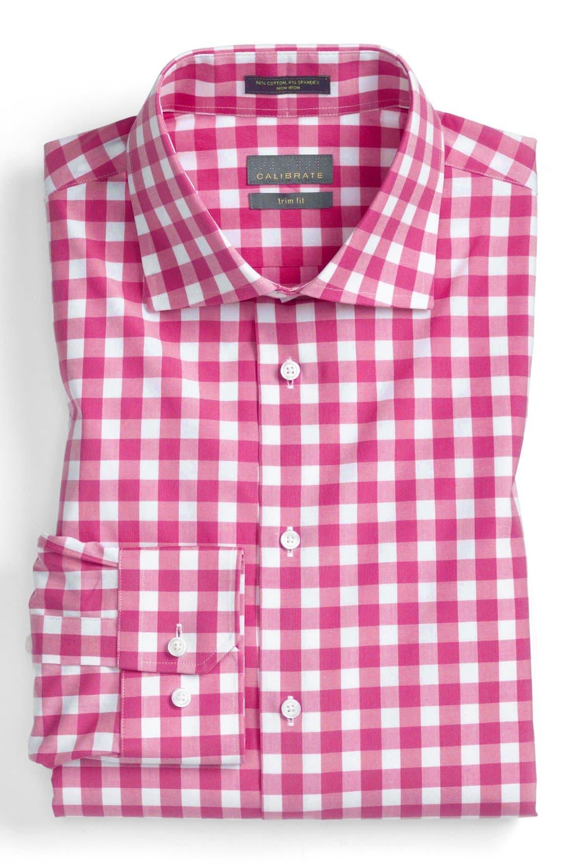 Main Image - Calibrate Trim Fit Non-Iron Gingham Dress Shirt