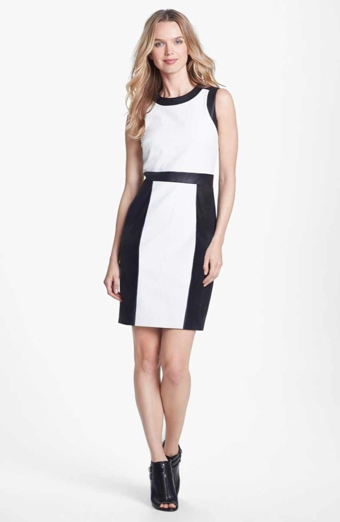 Main Image - Vince Camuto Colorblock Perforated Faux Leather Sheath Dress