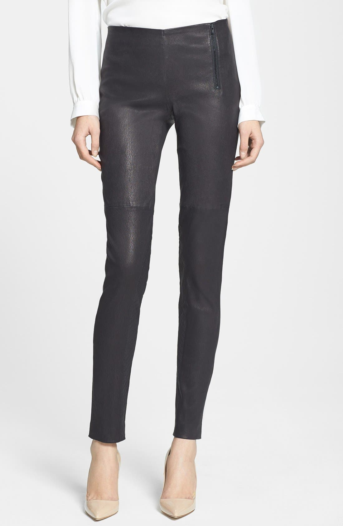 Main Image - Theory 'Redell L.' Leather Skinny Pants