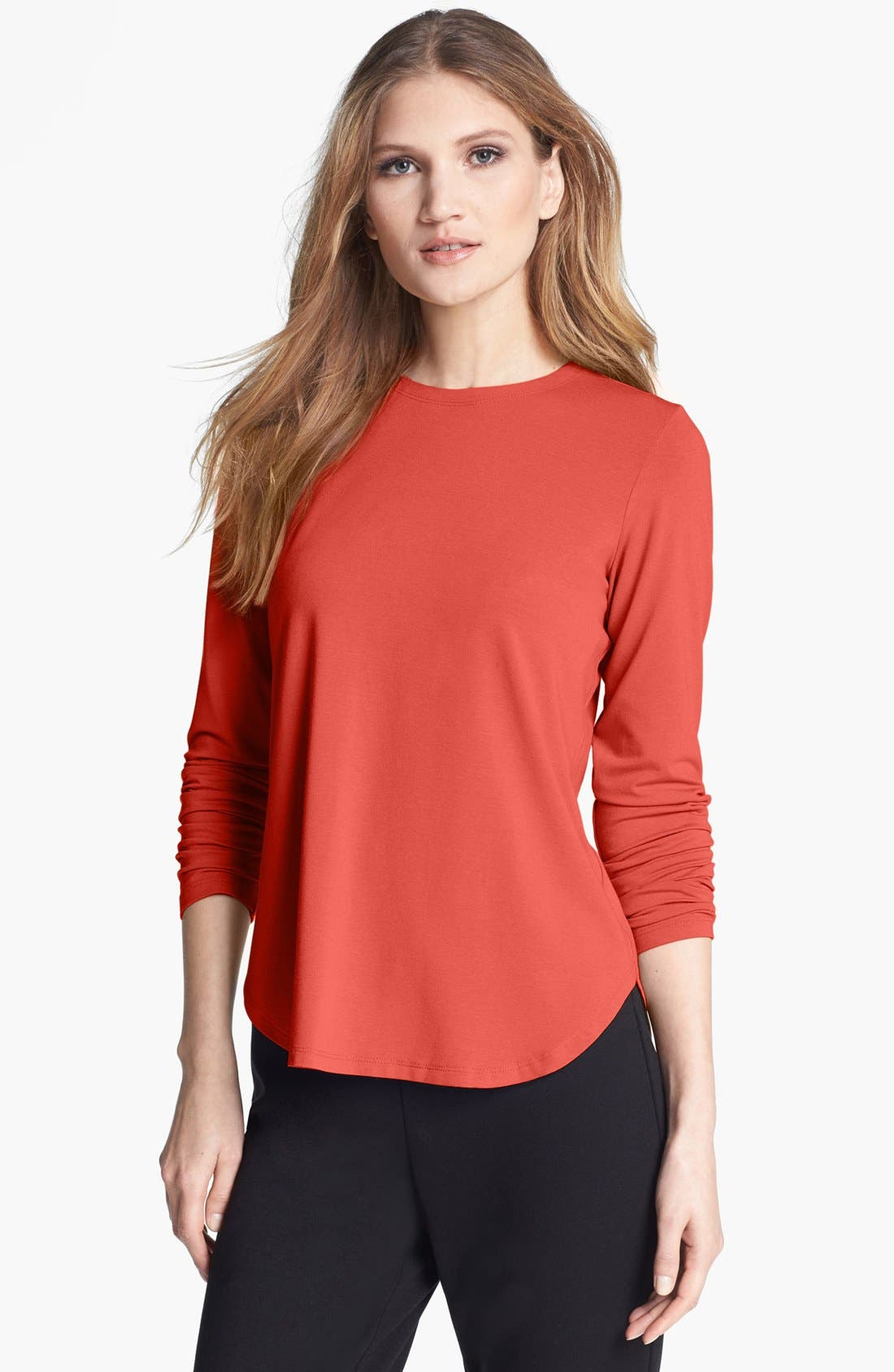 Alternate Image 1 Selected - Eileen Fisher Stretch Jersey Crewneck Tee