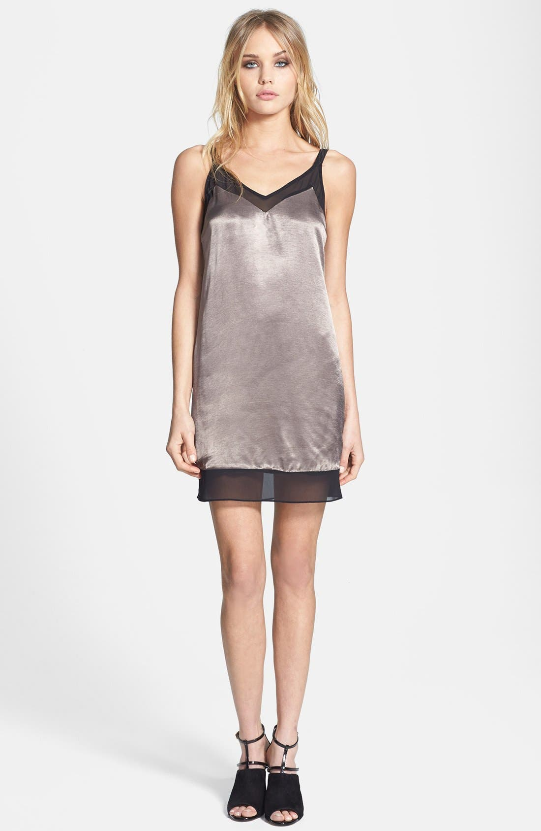 Alternate Image 1 Selected - Topshop Chiffon Trim Slipdress