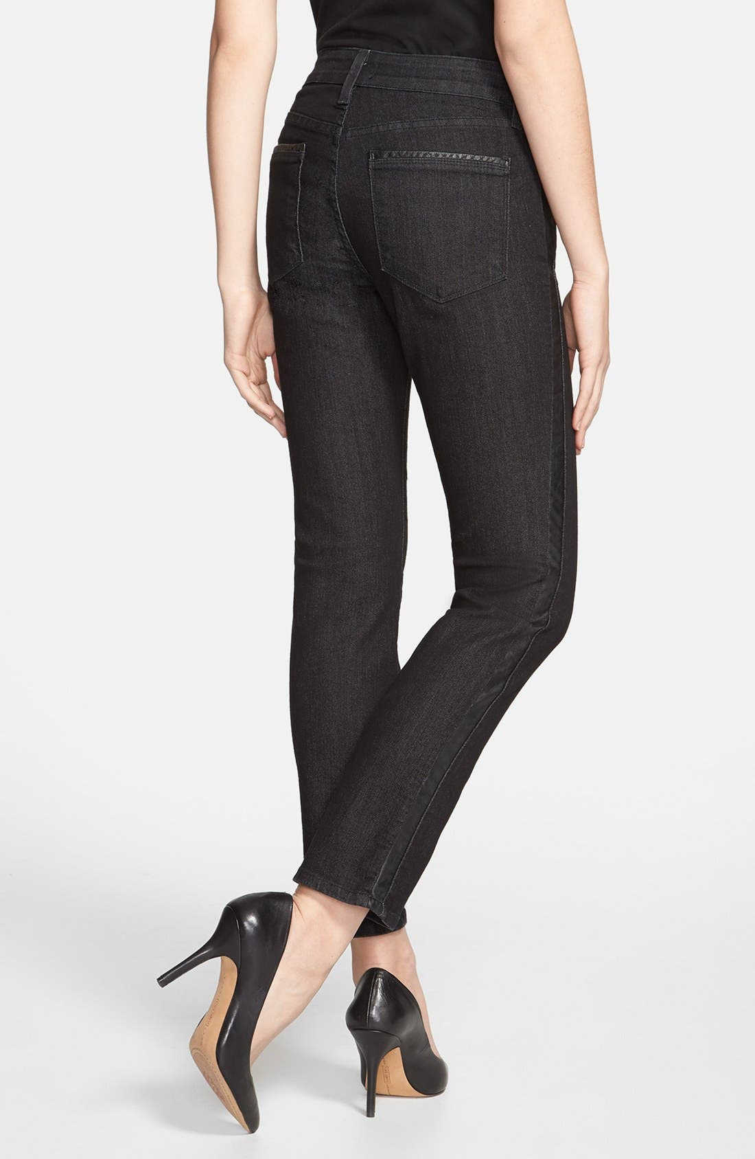 Alternate Image 2  - NYDJ 'Sheri' Tuxedo Stripe Stretch Skinny Jeans (Black) (Petite)