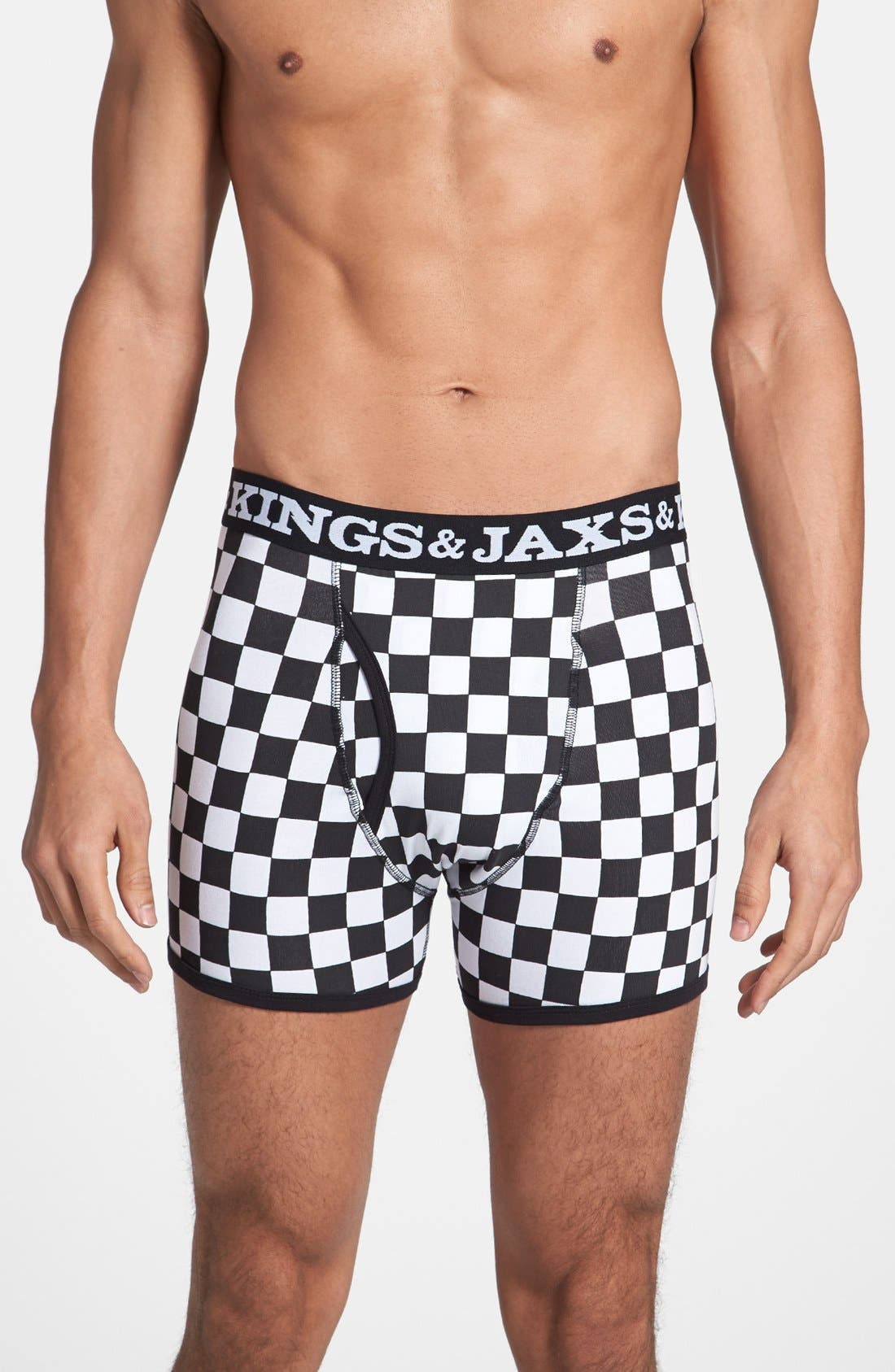 Alternate Image 1 Selected - KINGS & JAXS Checked Boxer Briefs