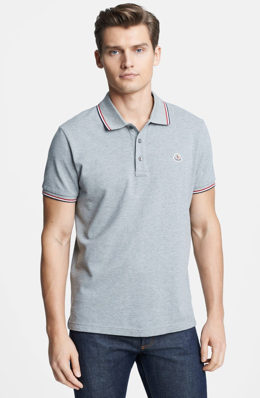 Alternate Image 1 Selected - Moncler Tipped Pique Polo