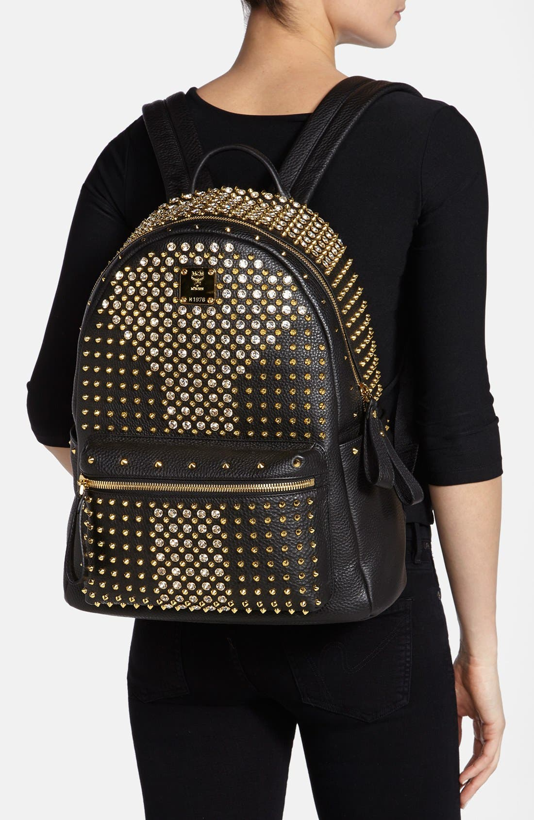 Alternate Image 2  - MCM 'Crystal Studded - Medium' Leather Backpack