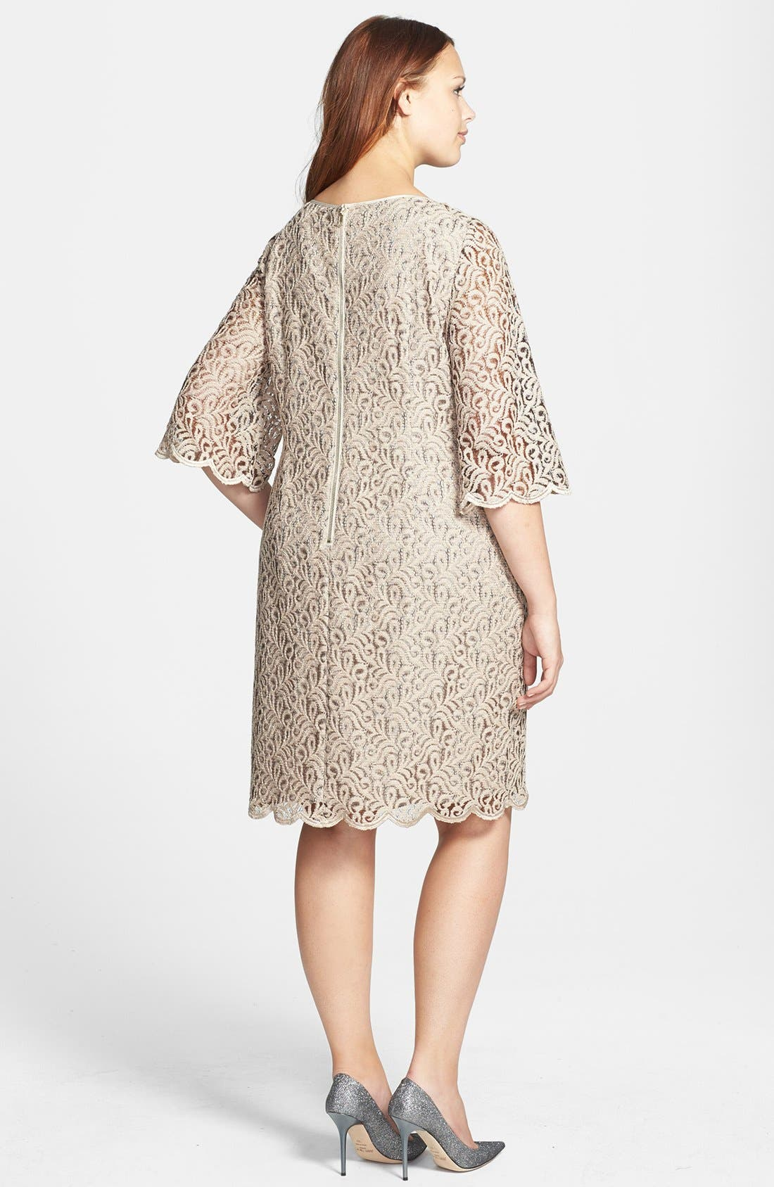 Alternate Image 2  - Adrianna Papell Bell Sleeve Beaded Lace Shift Dress (Plus Size)