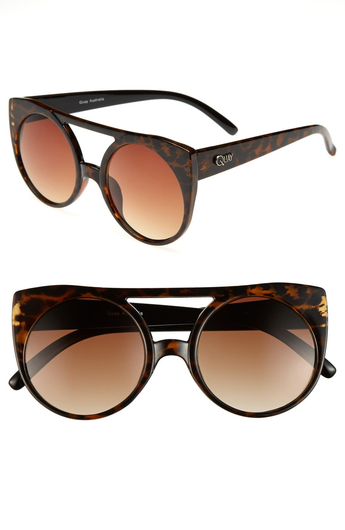 Alternate Image 1 Selected - Quay 55mm Leopard Cat Eye Sunglasses