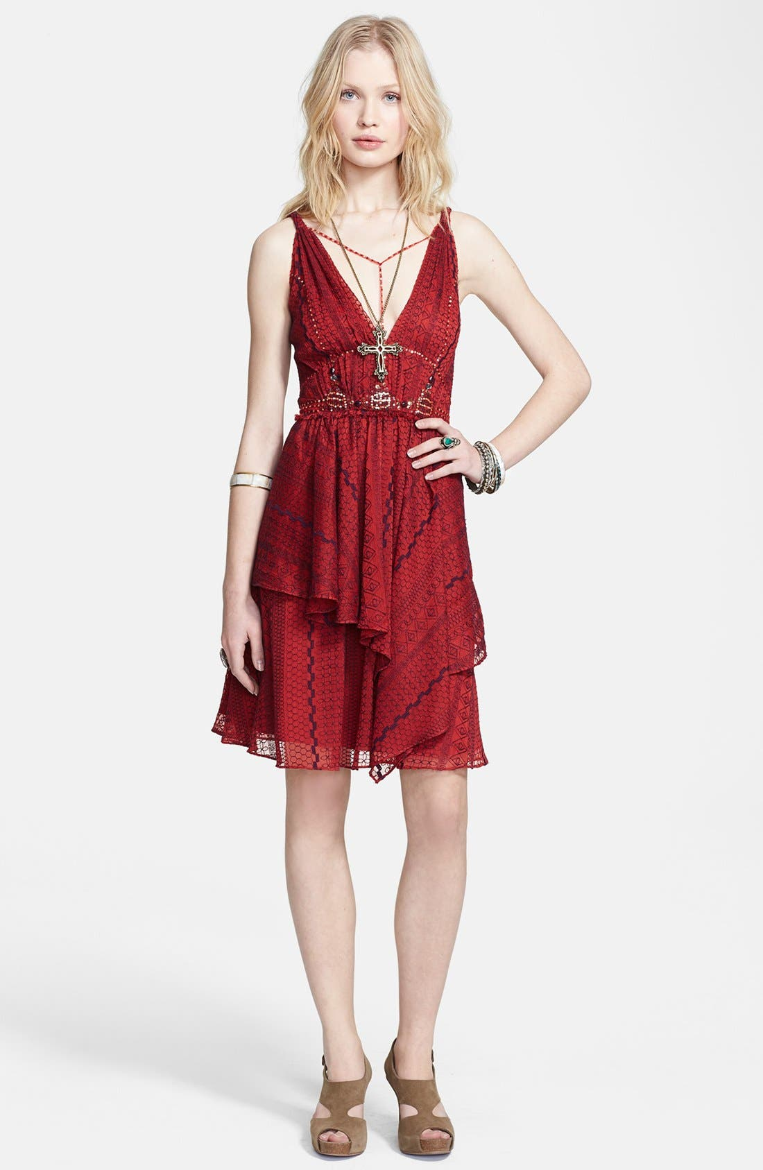 Main Image - Free People 'Leia' Embroidered Chiffon Fit & Flare Dress