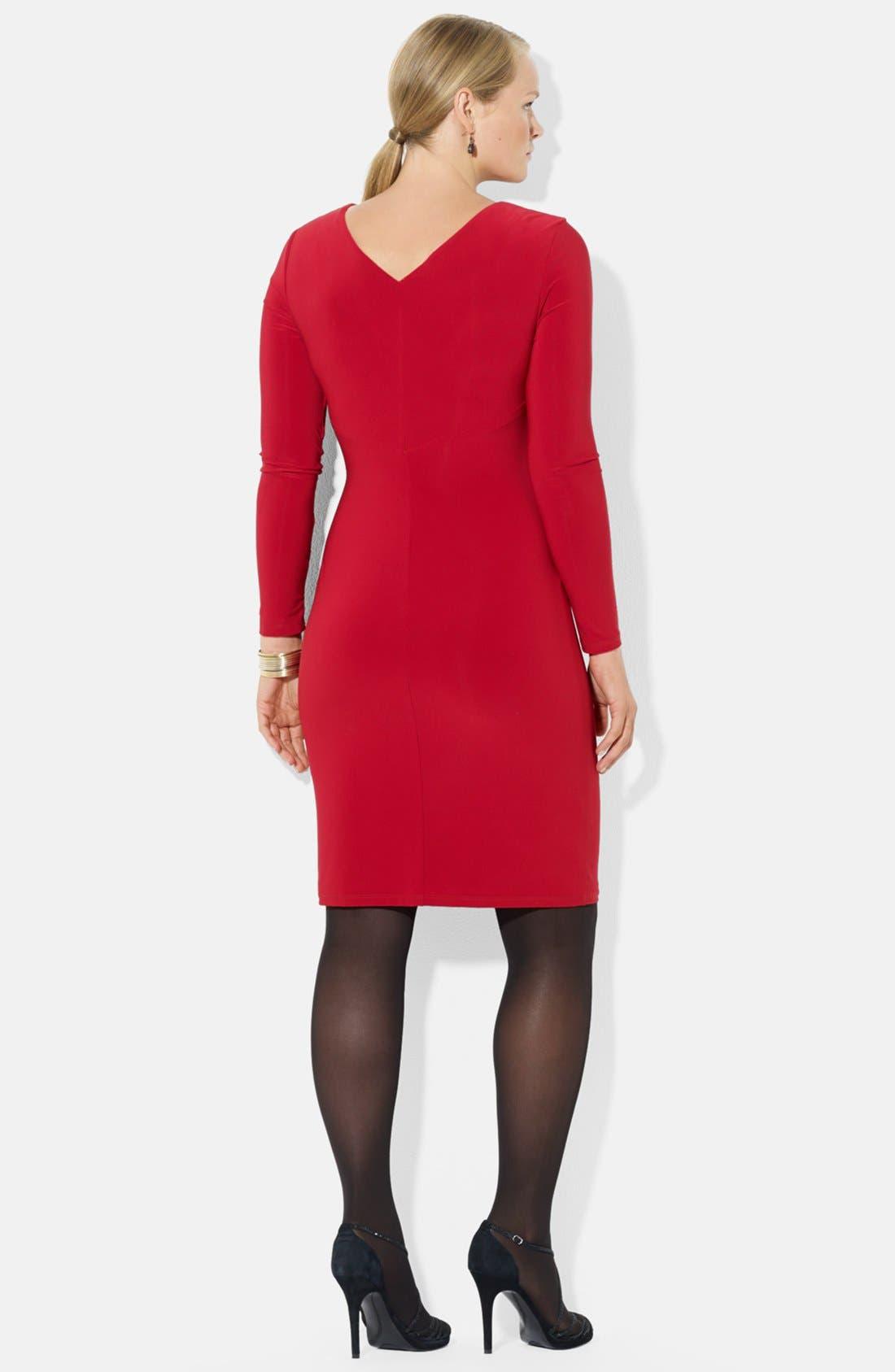 Alternate Image 2  - Lauren Ralph Lauren Side Ruffle Jersey Dress (Plus Size)