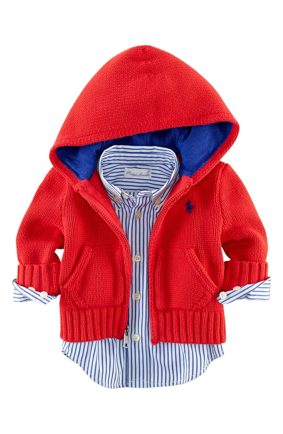 Alternate Image 2  - Ralph Lauren Full Zip Hooded Cardigan (Baby)