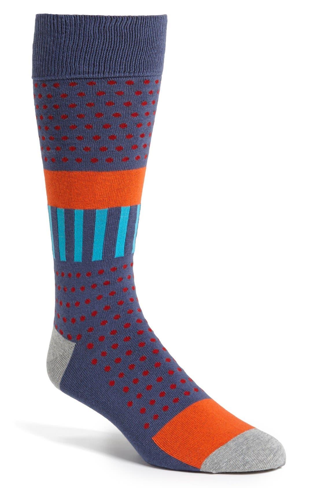 Main Image - Calibrate Dot & Stripe Crew Socks