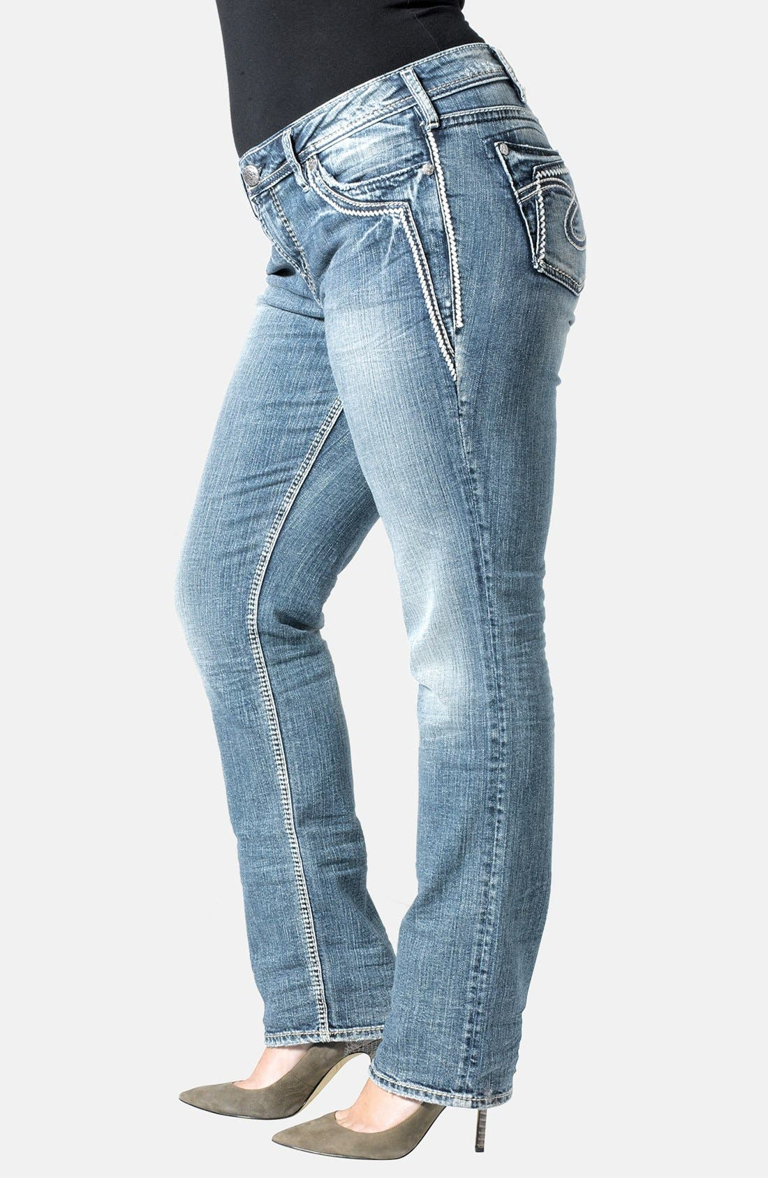 Alternate Image 3  - Silver Jeans Co. 'Aiko' Straight Leg Jeans (Indigo) (Plus Size)