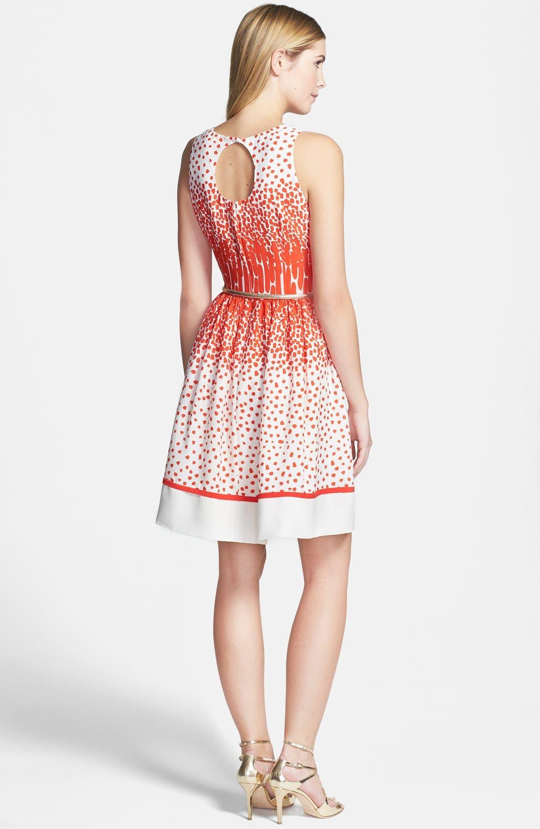 Alternate Image 2  - Eliza J Print Crêpe de Chine Belted Fit & Flare Dress (Regular & Petite)