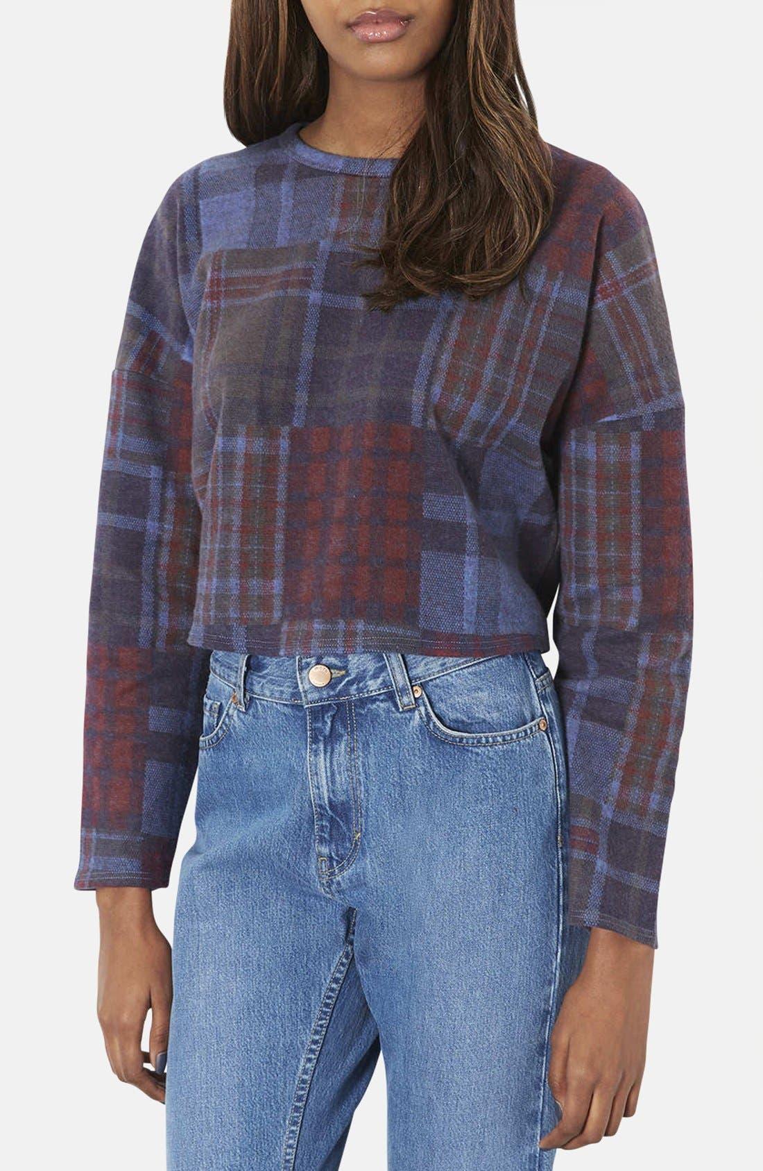 Alternate Image 1 Selected - Topshop Boxy Check Print Cotton Sweatshirt