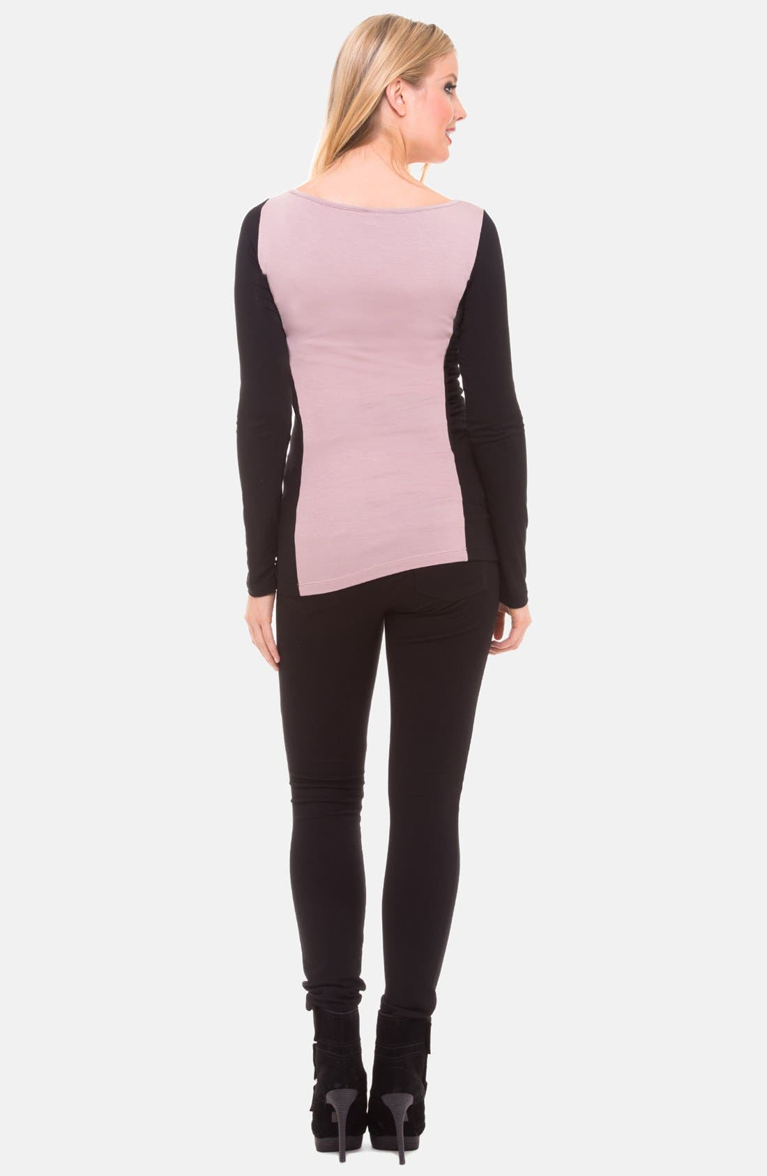 Alternate Image 2  - Olian Ruched Colorblock Maternity Top