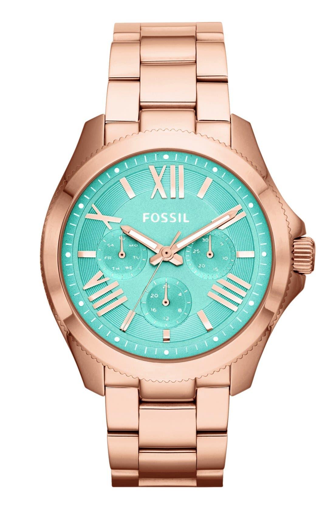 Alternate Image 1 Selected - Fossil 'Cecile' Multifunction Bracelet Watch, 40mm
