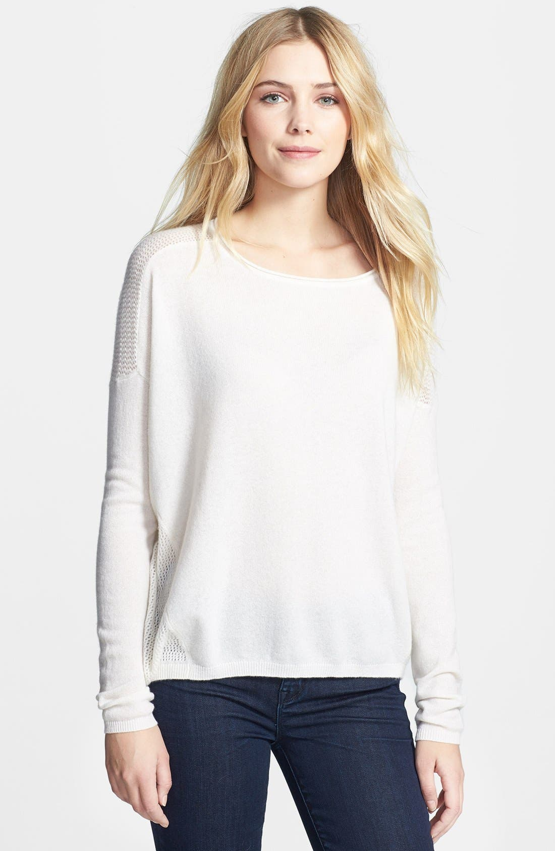 Main Image - Vince Perforated Cashmere Boatneck Sweater