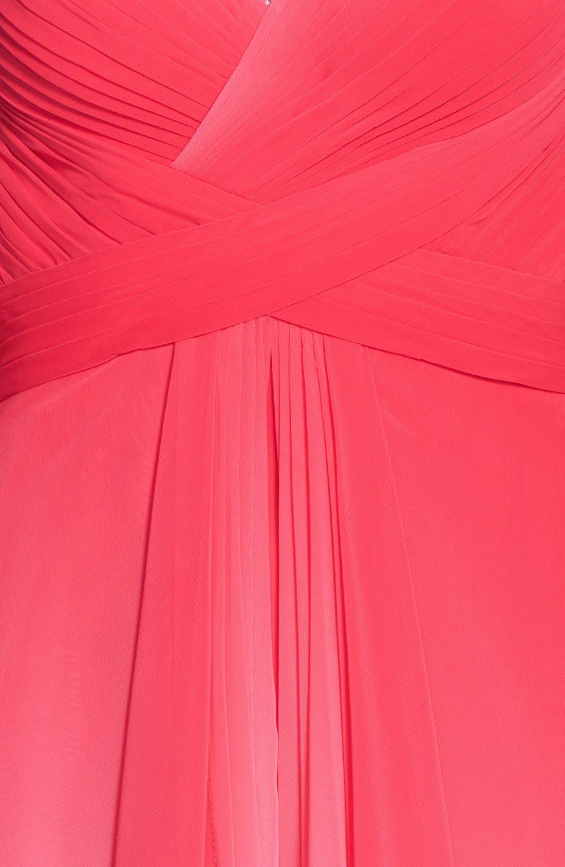 Alternate Image 3  - La Femme Embellished Ombré Tiered Chiffon Gown