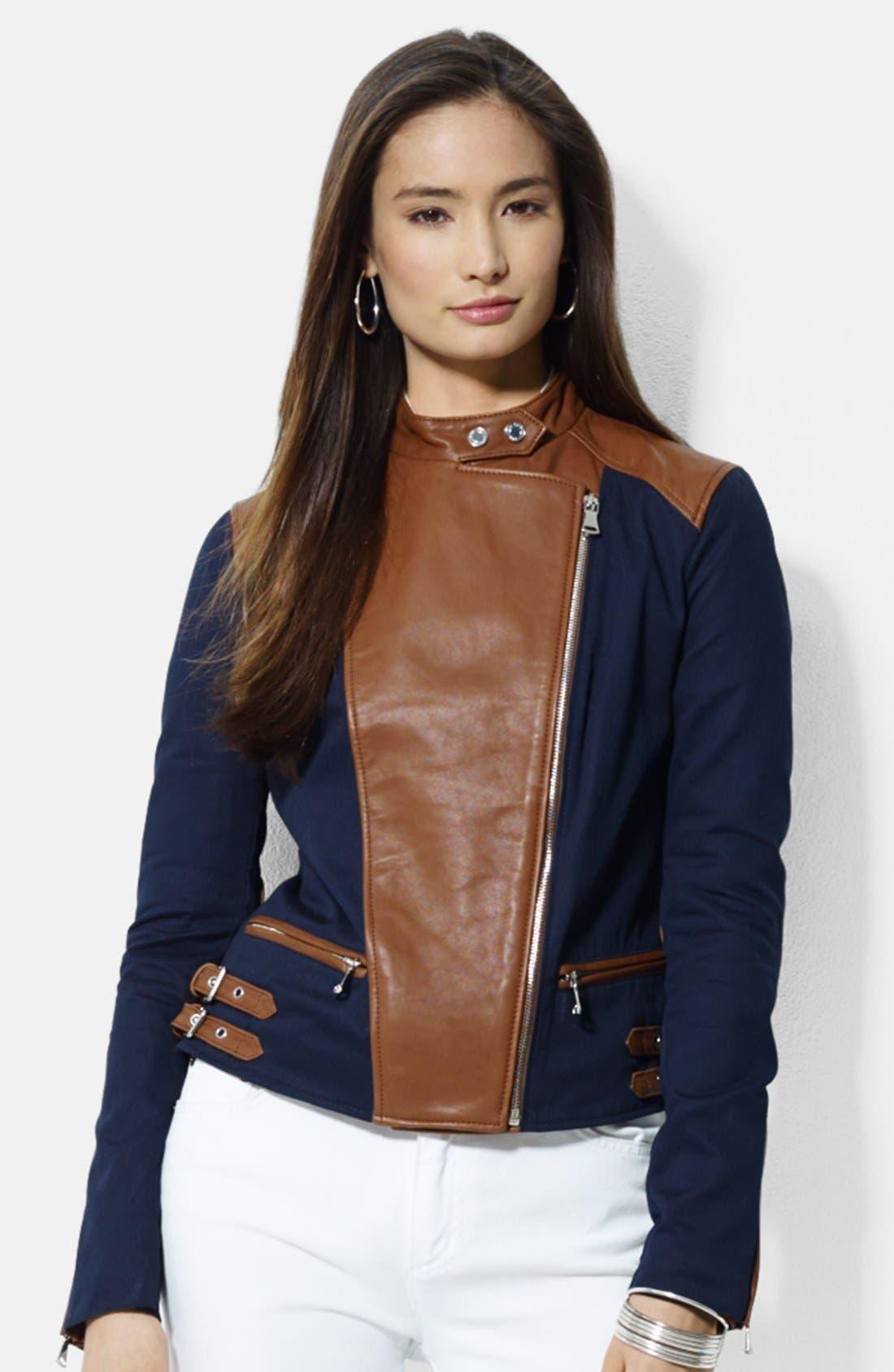 Main Image - Lauren Ralph Lauren Asymmetrical Two-Tone Cotton & Leather Moto Jacket