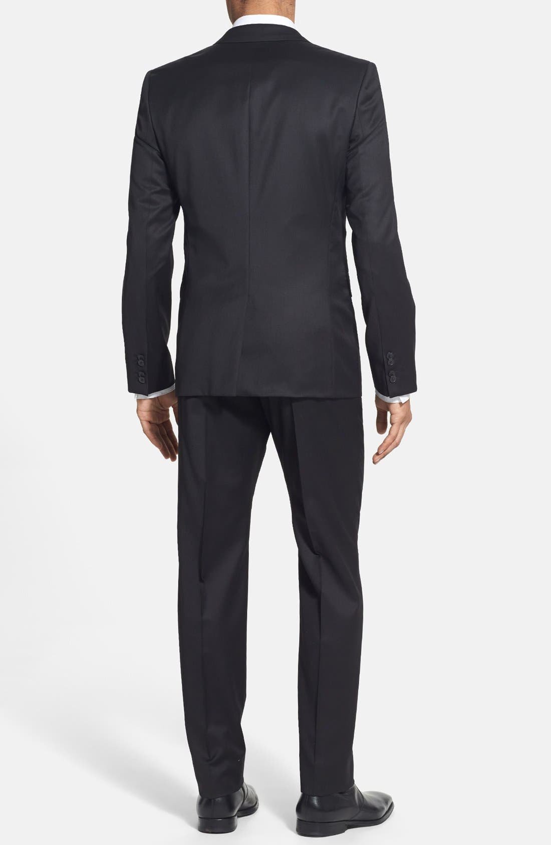 Alternate Image 2  - HUGO 'Aeron/Hamen - Super Black' Extra Trim Fit Wool Suit