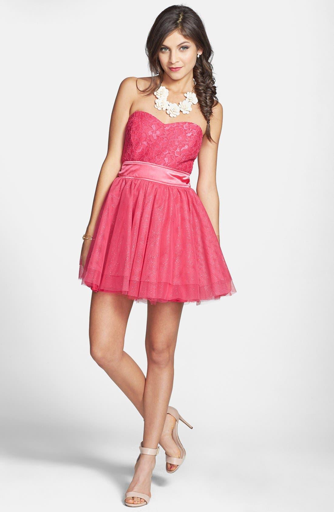 Main Image - Trixxi Lace Bodice Fit & Flare Dress (Juniors)