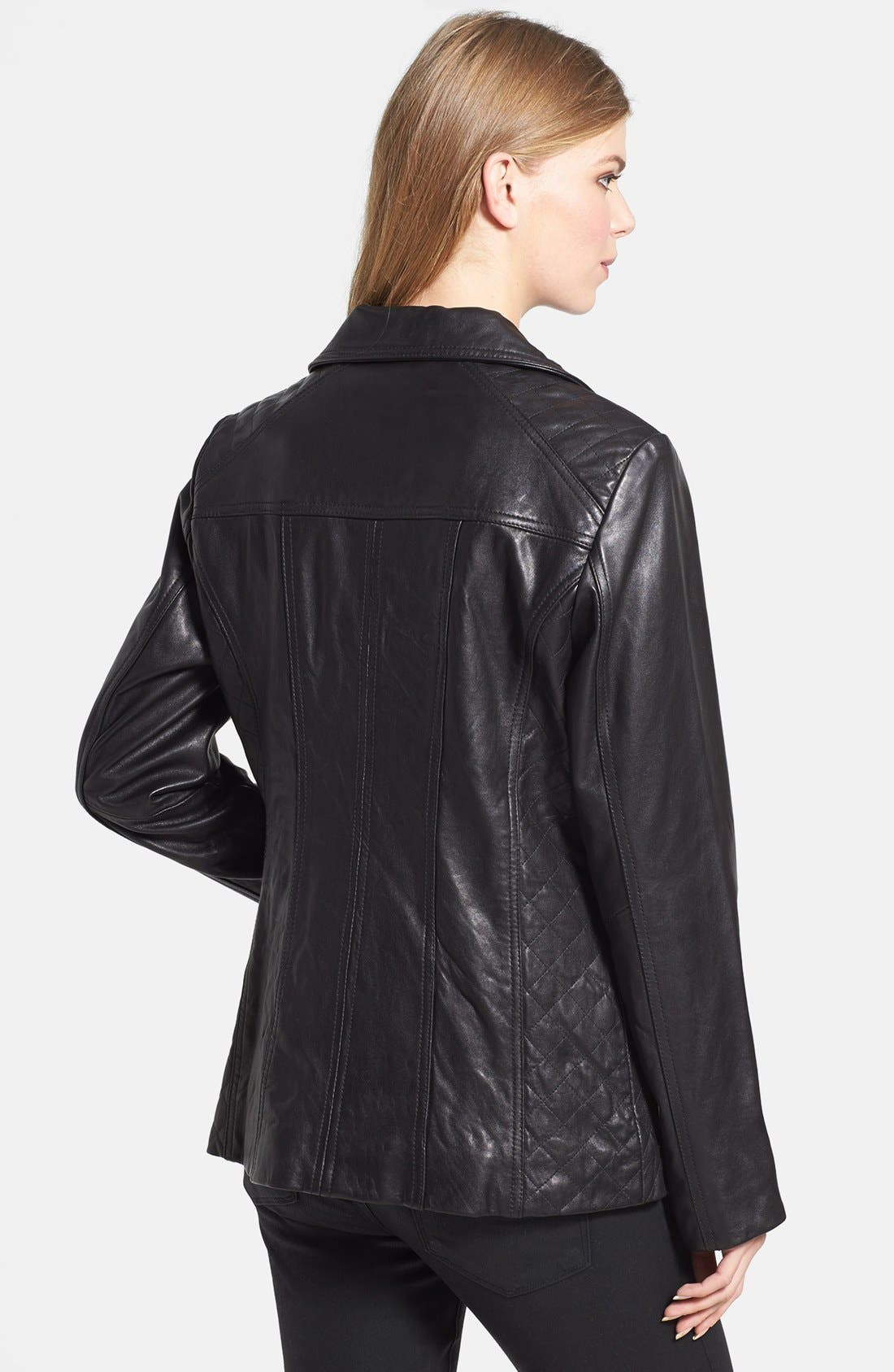 Alternate Image 2  - Ellen Tracy Quilt Trim Leather Jacket