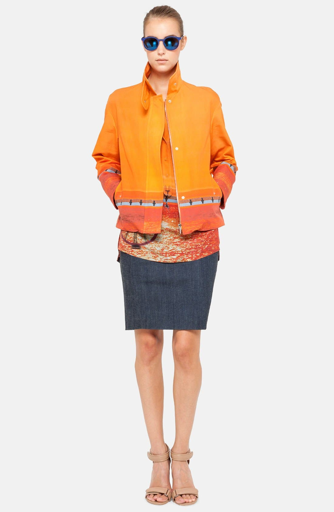 Main Image - Akris punto Jacket, Blouse & Pencil Skirt
