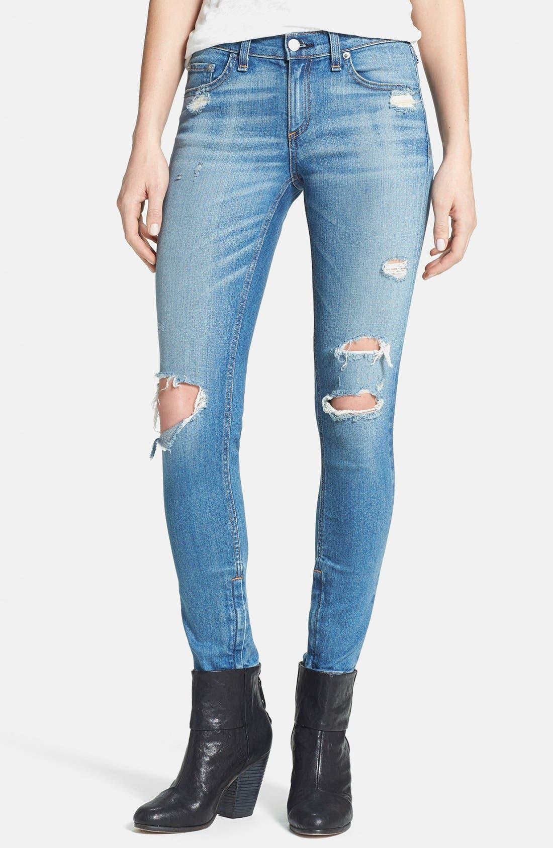 Main Image - rag & bone/JEAN Destroyed Skinny Ankle Jeans (Shredded)