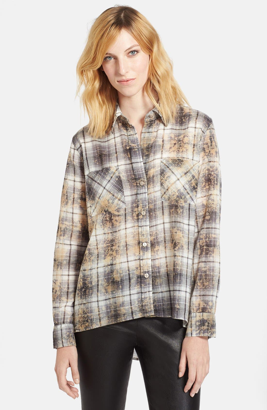 Main Image - Enza Costa Plaid High/Low Cotton Shirt
