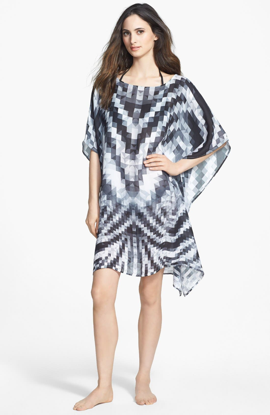Alternate Image 1 Selected - Echo 'Digital Mosaic Geo' Silk Cover-Up Poncho