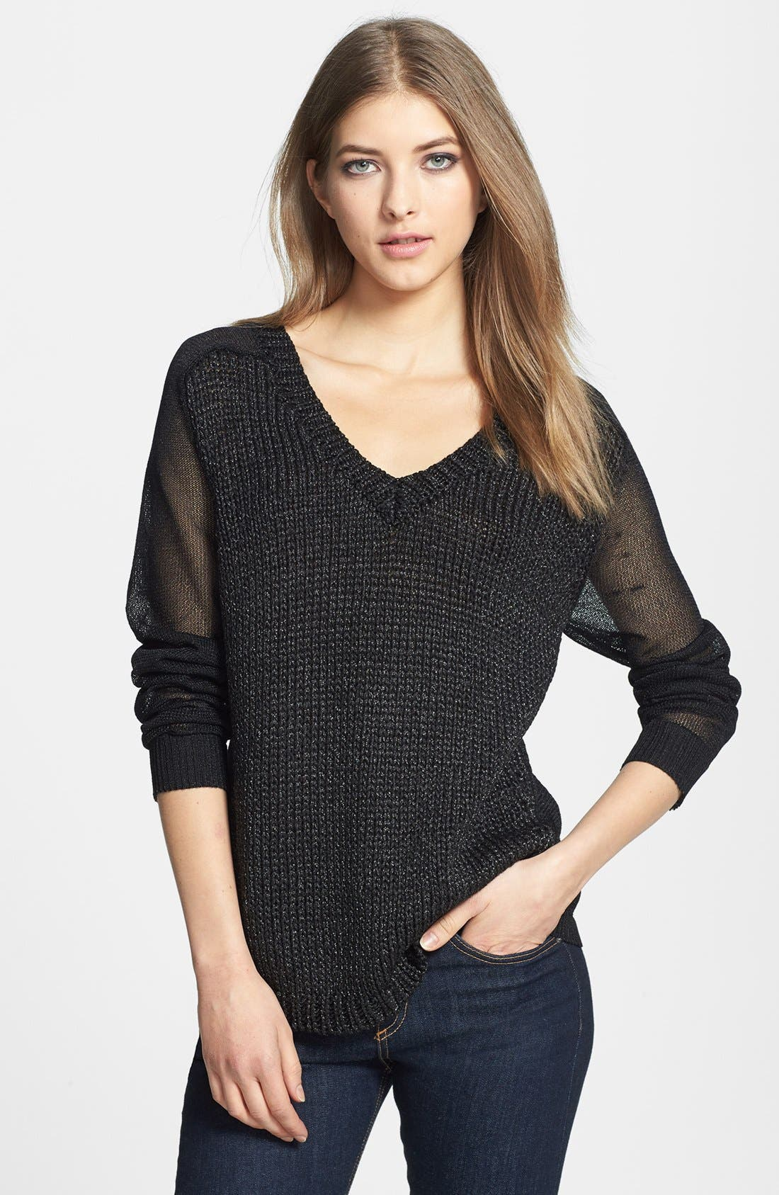 Main Image - Trouvé Sheer Panel V-Neck Sweater