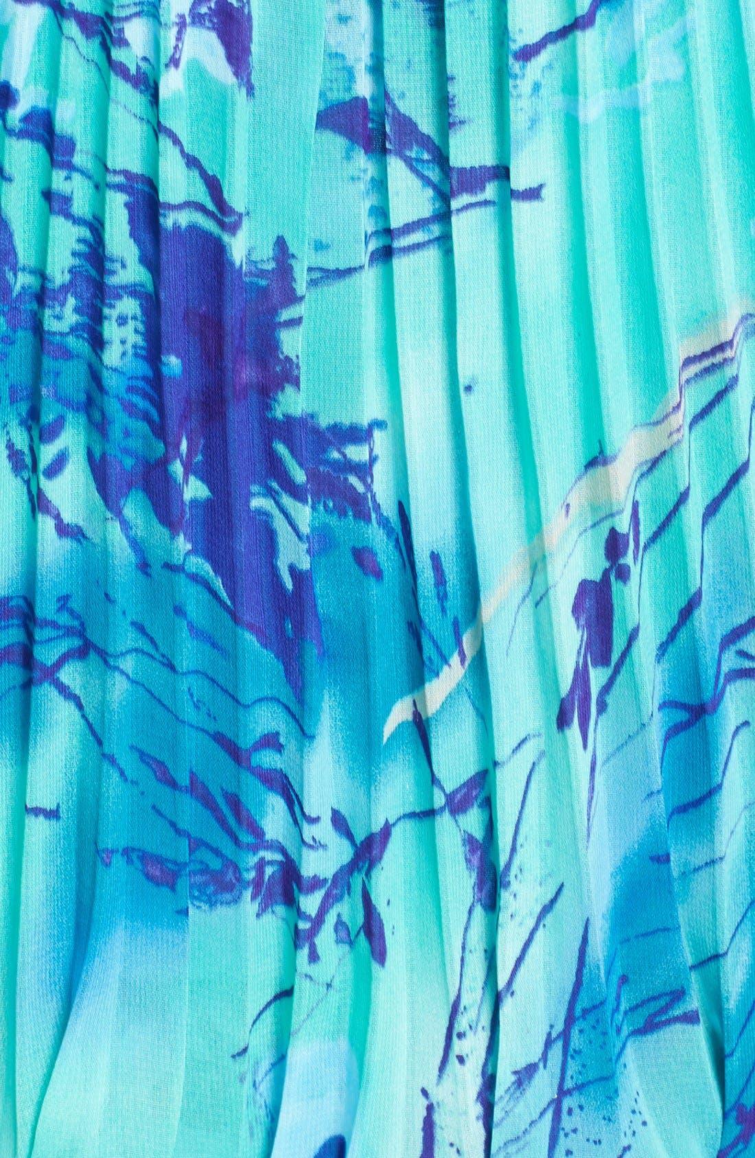 Alternate Image 3  - Xscape Print Pleated Blouson Gown