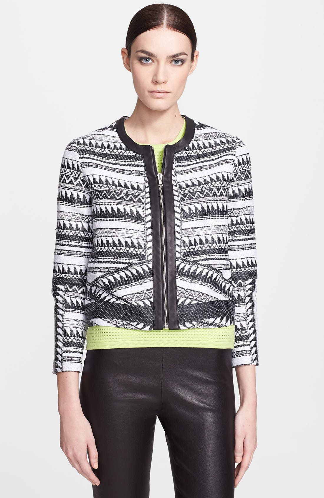 Alternate Image 1 Selected - Yigal Azrouël Print Crop Jacket