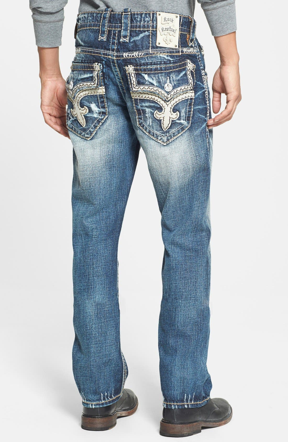 Alternate Image 1 Selected - Rock Revival 'Teo' Straight Leg Jeans (Medium Blue)