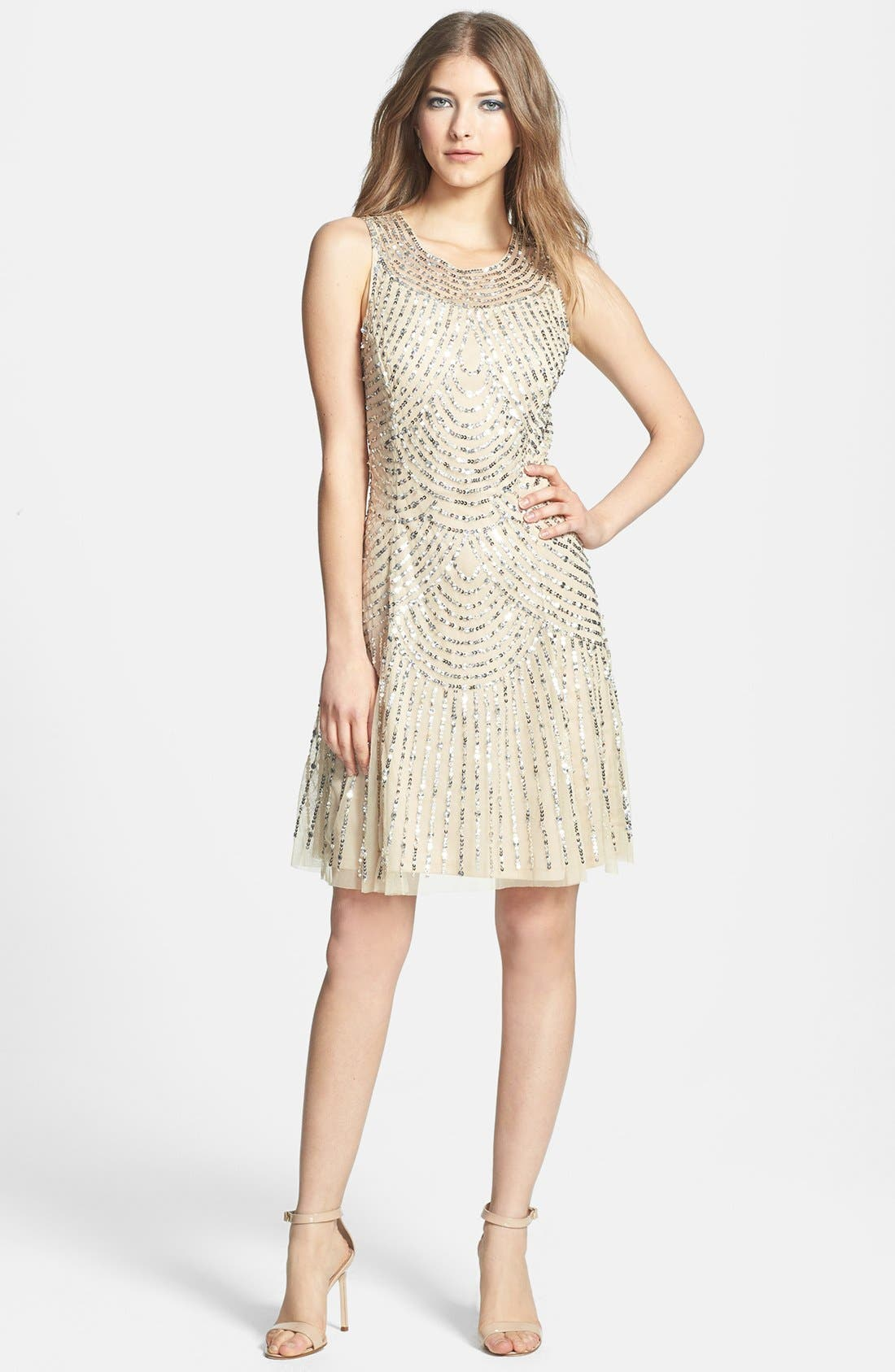 Alternate Image 1 Selected - Aidan Mattox Sequin & Bead Embellished Shift Dress